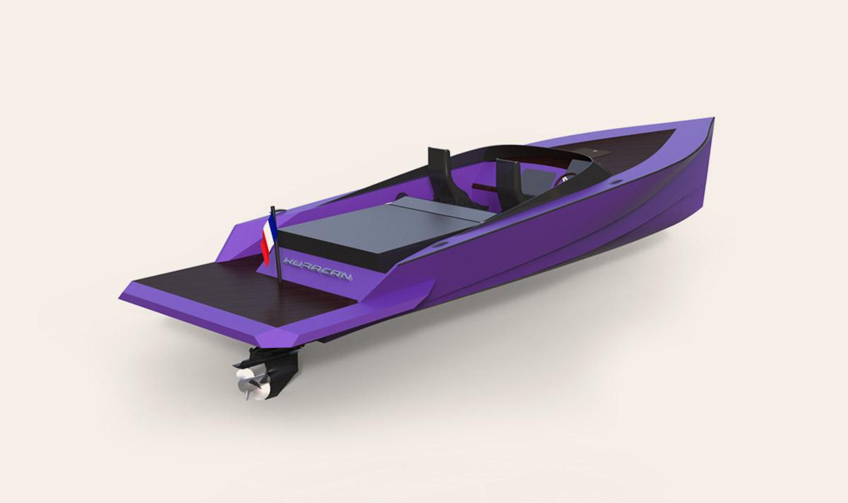 Lamborghini purple yacht par Matthieu Coin