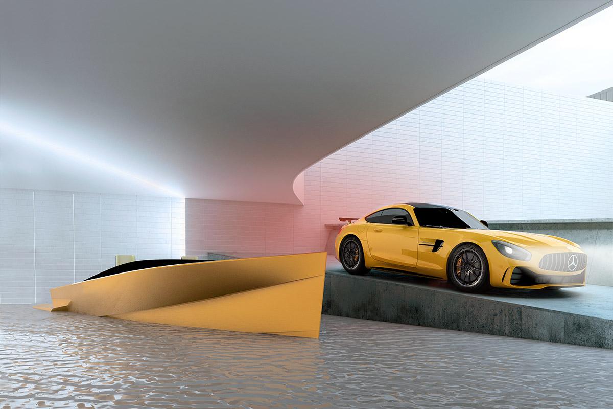 Rendu 3D d'un yacht Mercedes AMG par Matthieu Coin